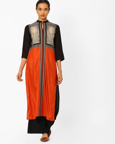 Colourblock Kurta With Mandarin Collar By W ( Orange )