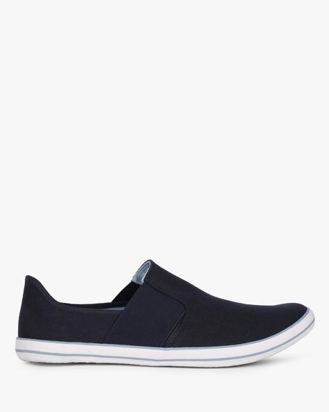 Canvas Slip-On Vulcanised Sneakers By AJIO ( Navy )