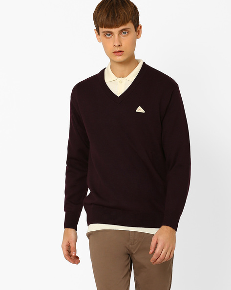 Regular Fit Woollen V-neck Pullover By MONTE CARLO ( Assorted )