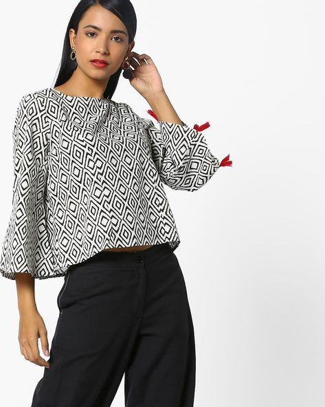 Geometric Print Top With Flared Sleeves By AJIO ( White )