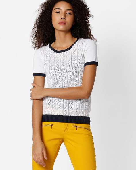 Cotton Open-Knit Top By FIG ( White )