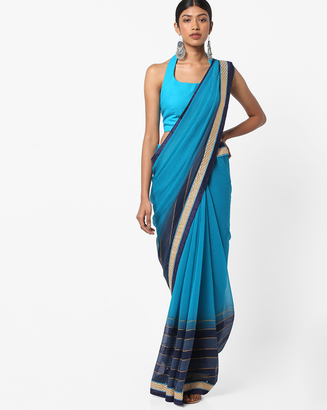 Ombre-Dyed Saree With Lace Border By Vastrangi ( Blue )