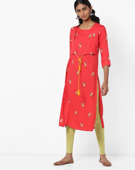 Floral Print Kurta With Tasseled Tie-Up By AJIO ( Red )
