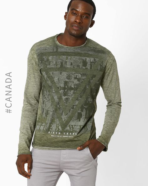 Printed Slim T-shirt With Slub Knit By Point Zero ( Military )