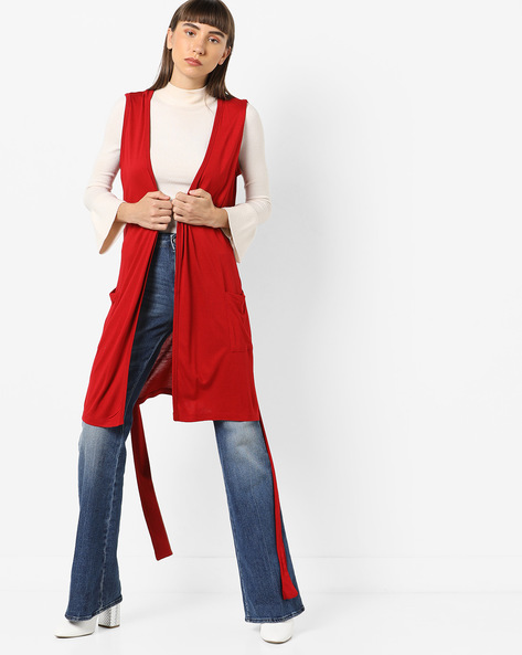 Knitted Open-Front Shrug With Tie-Up By AJIO ( Red )