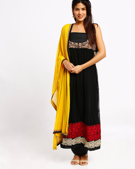 Embroidered Semi-Stitched Dress Material By Viva N Diva ( Black )