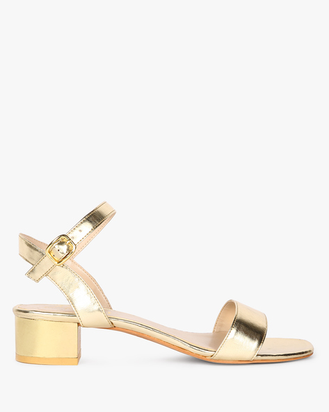 Ankle-Strap Block Heels With Buckle Closure By Carlton London ( Gold )