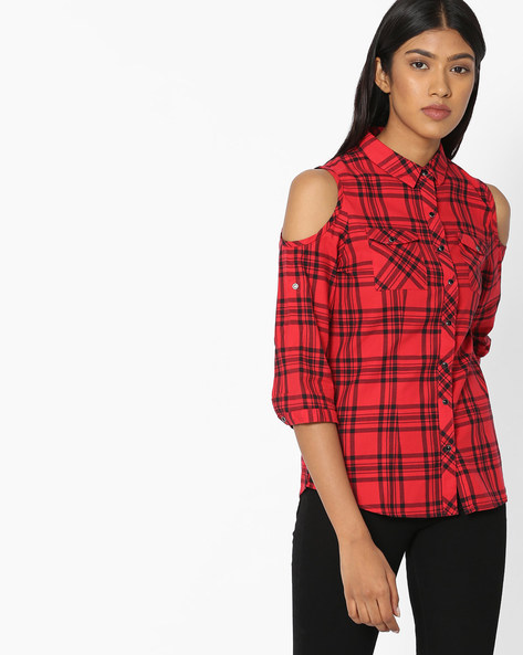 Cold-Shoulder Shirt With Patch Pocket By KRAUS ( Red )