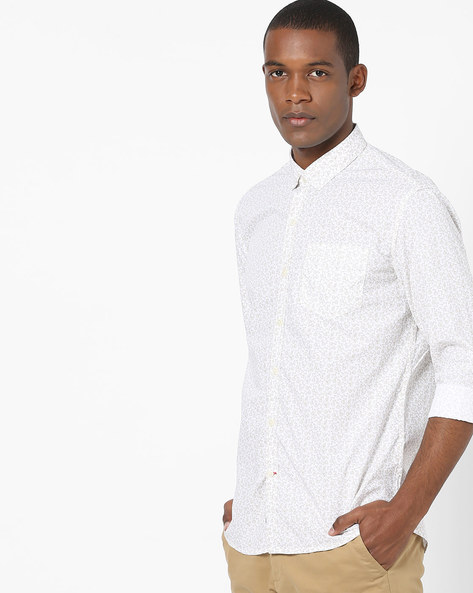 All-Over Floral Print Shirt By NETPLAY ( White )