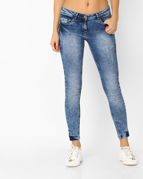 Acid-Washed Skinny Jeans By Fame Forever ( Monacoblue )