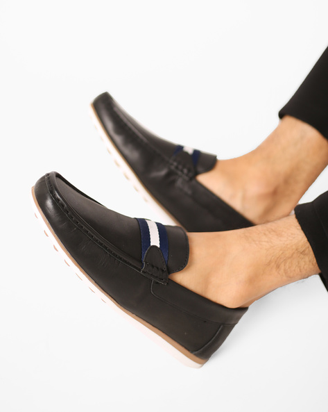 Genuine Leather Loafers With Overlay By Carlton London ( Black )