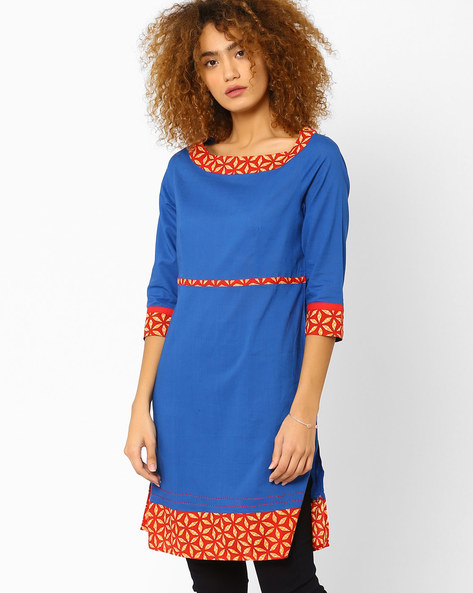 Straight Kurta With Contrast Hem By AJIO ( Blue )
