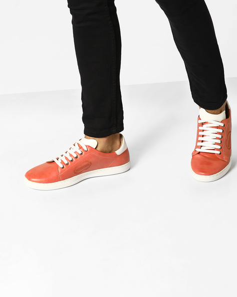 Lace-Up Sneakers With Signature Branding By ESCARO ( Red )