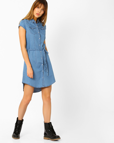 Denim Shirt Dress With Waist Tie-Up By KRAUS ( Mediumblue )