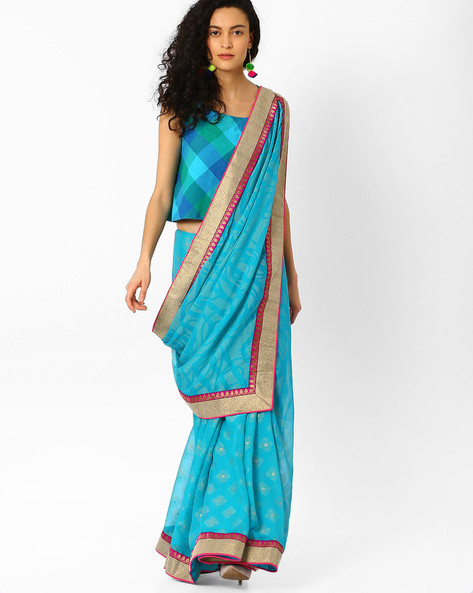 Printed Saree With Contrast Border By Pihu ( Turquoise ) - 460056206001