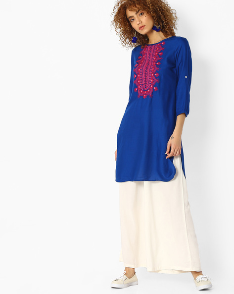 Embroidered Kurta With Roll-Up Tabs By FUSION ( Darkblue )