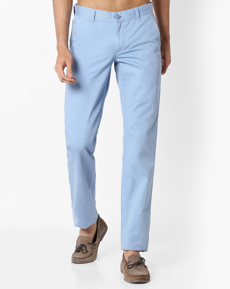 Slim Fit Cotton Chinos By VIMAL APPARELS ( Aqua )