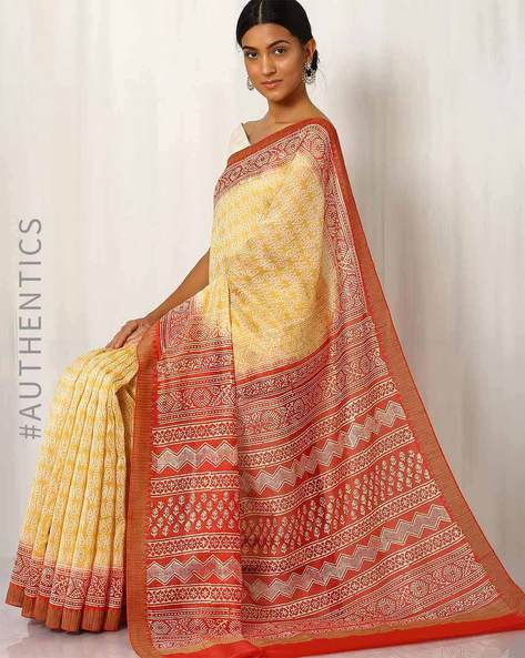Bagru Print Chanderi Saree By Indie Picks ( Yellow ) - 460015832001