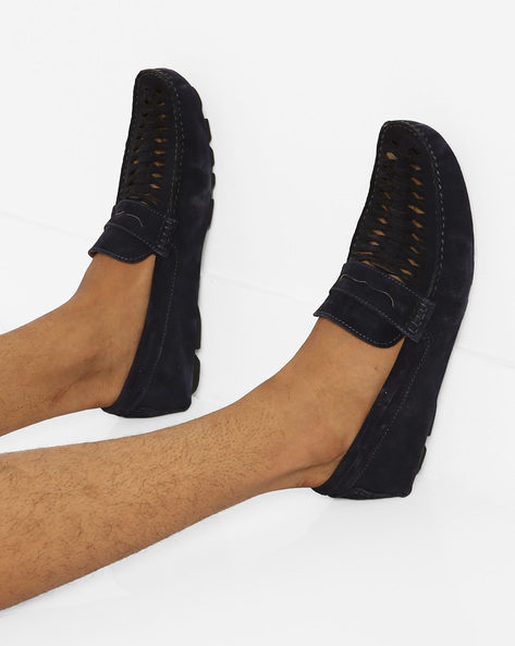 Suede N9-Treated Penny Loafers By AJIO ( Navy )