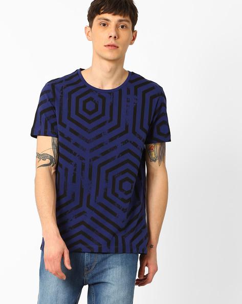 Geometric Print Slim Fit T-shirt By AJIO ( Navy )
