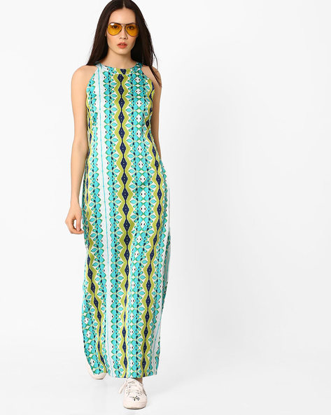 Printed Maxi Dress With Cut Away Shoulders By AJIO ( Turquoise )