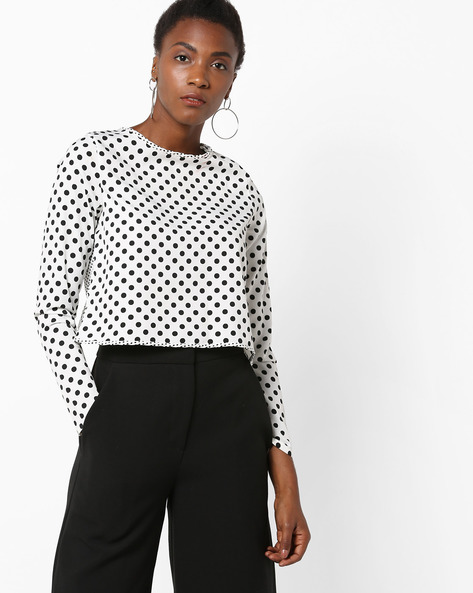 Polka-Dot Top With Open-Back By AJIO ( Offwhite )