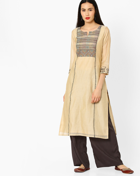 Straight Kurta With Placement Print By KIMONO ( Offwhite )