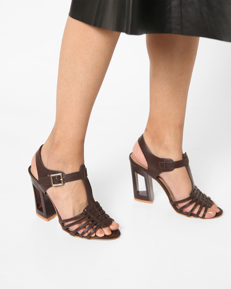 Strappy Chunky Heels With Cut-Out Detail By AJIO ( Coffee )