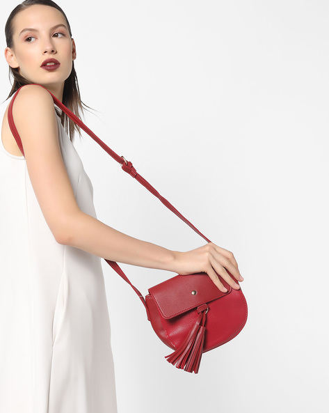 Sling Bag With Tassels By Lino Perros ( Red )