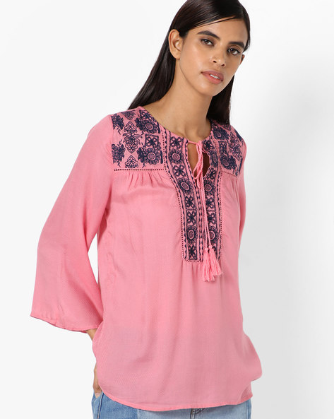 Top With Embroidery & Bell Sleeves By Oxolloxo ( Pink )