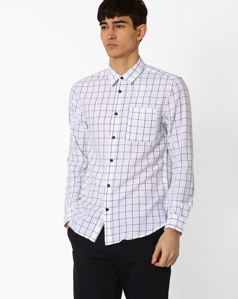 Window Check Shirt With Patch Pocket By Jack & Jones ( White )
