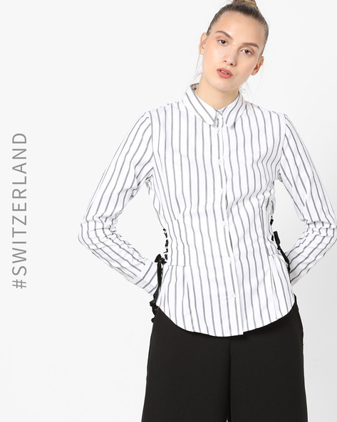 Striped Shirt With Lace-Up Fastening By TALLY WEiJL ( Multi )