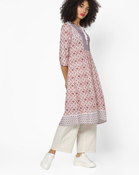 Printed Fit & Flare Kurta By FUSION BEATS ( Pink )