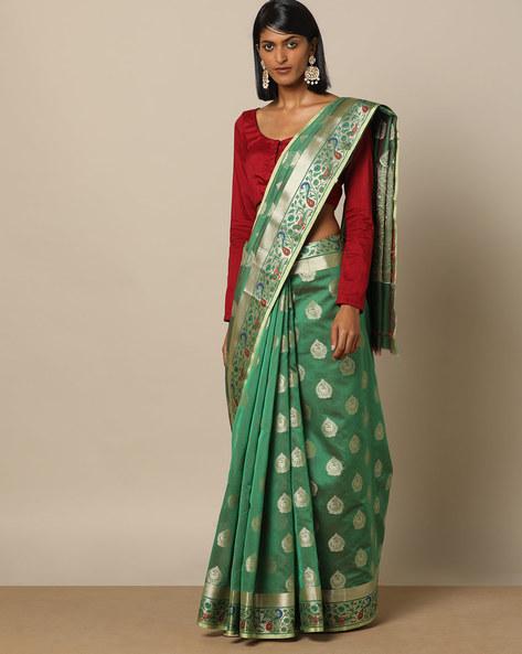 Banarasi Silk Saree With Zari Border By Rudrakaashe-MSU ( Green ) - 460153715001