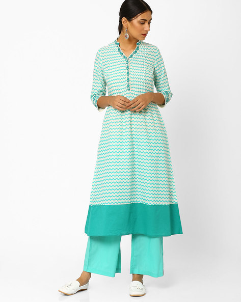 Chevron Print Kurta With Embroidery By AJIO ( Mint )