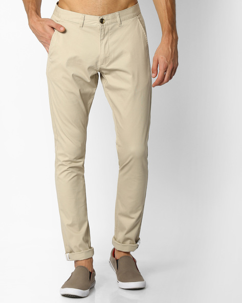 Mid-Rise Dobby Chinos By NETPLAY ( Beige )