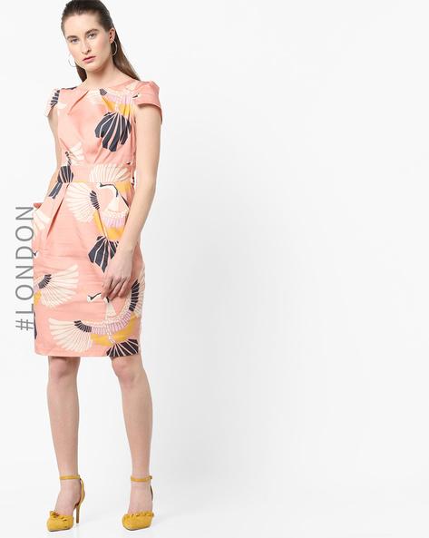 Tropical Print Sheath Dress By Closet London ( Pink )