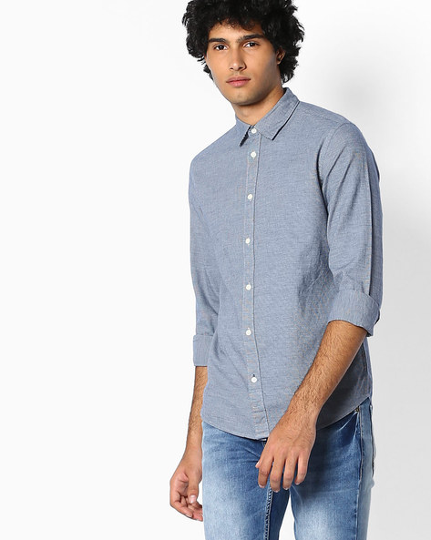 Cotton Shirt With Spread Collar By SELECTED ( Navy )