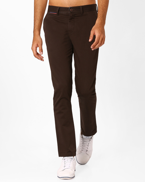 Slim Fit Cotton Twill Trousers By AJIO ( Olive )