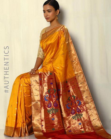 Handloom Paithani Pure Silk Saree With Zari Border By Pretty Woman ( Mustard )