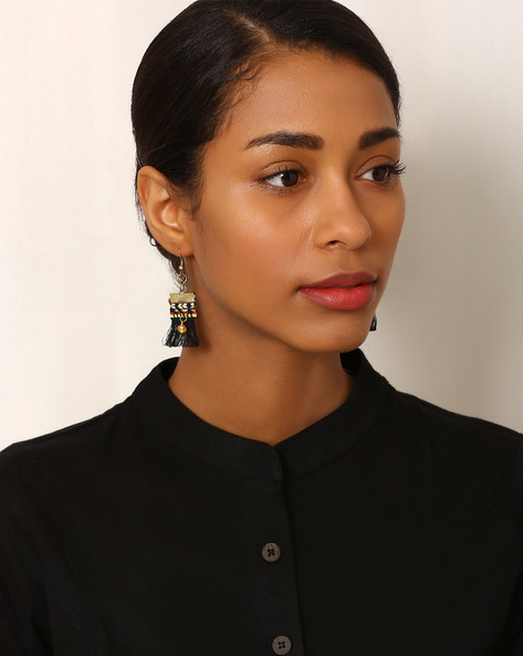 Beaded Drop-Earrings With Tassels By Indie Picks ( Black )