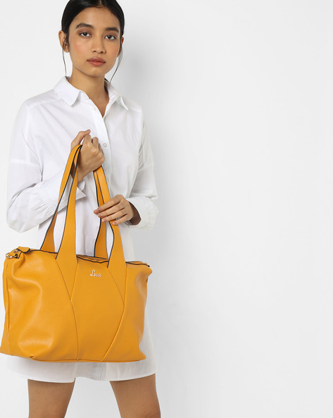 Lunar Panelled Handbag By Lavie ( Yellow )