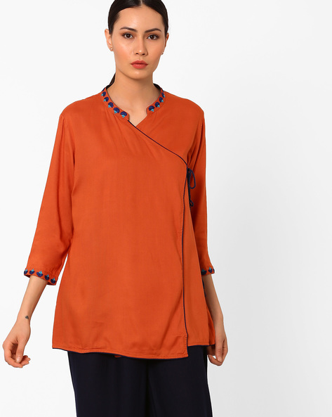 Angrakha Tunic With Tie-Up Detail By AJIO ( Rust )