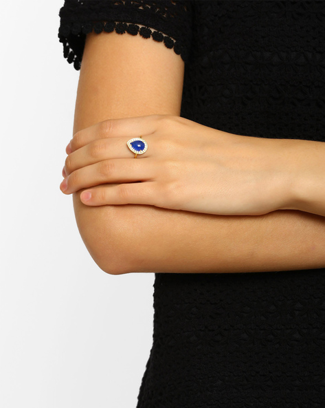 Zircon-Studded Quartz Ring By DWS ( Blue )