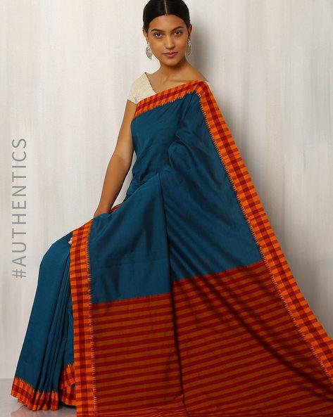 Handwoven Kora Cotton Saree By Rudrakaashe-MSU ( Multi )