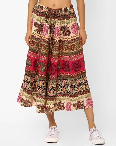 Printed Culottes With Tie-Up Waist By AYAANY ( Pink )