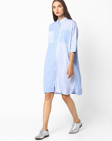 Shirt Dress With Stripes By Evah London ( Blue )