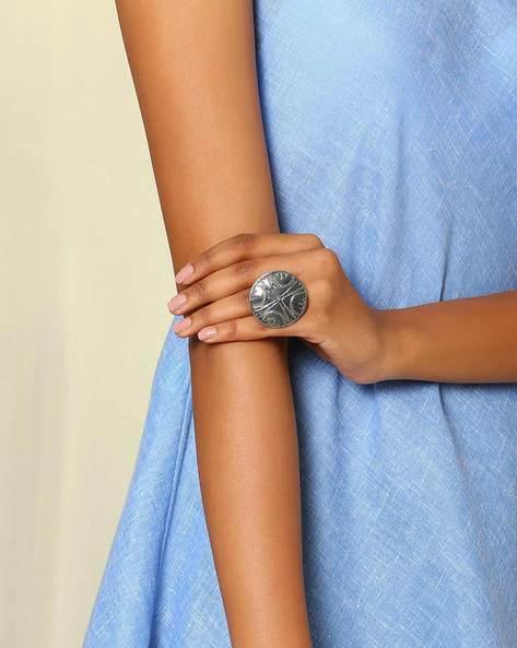 Oxidised Metal Statement Ring By Indie Picks ( Silver ) - 460046702001