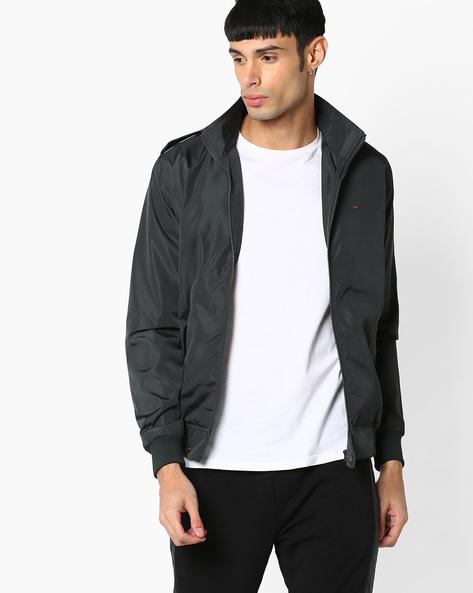 Slim Fit Zip-Front Jacket By SPYKAR ( Olive )