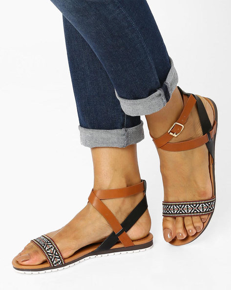 Strappy Flat Sandals By Tresmode ( Black )